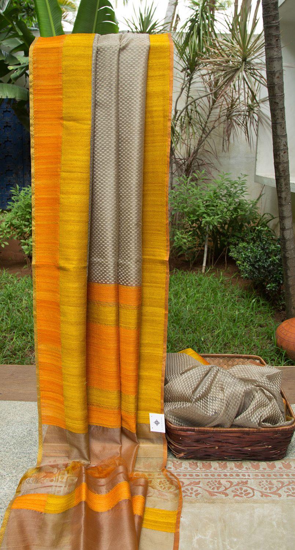 Yellow silk saree this elegant pebble grey benares kora sari has a delicate thread