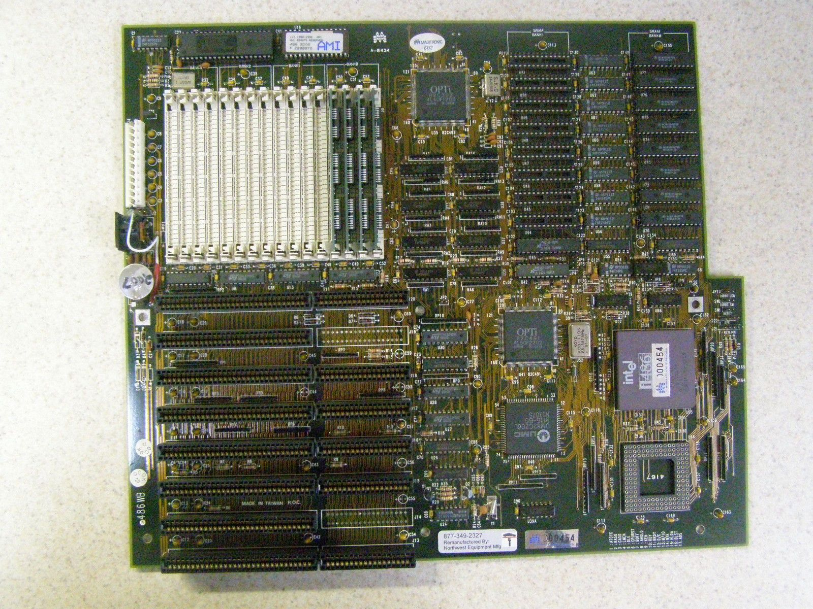 Vintage Industrial 486 Motherboard With CPU & RAM Tested