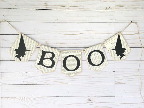 BOO Spider Halloween Burlap Bunting Banner Garland Decoration