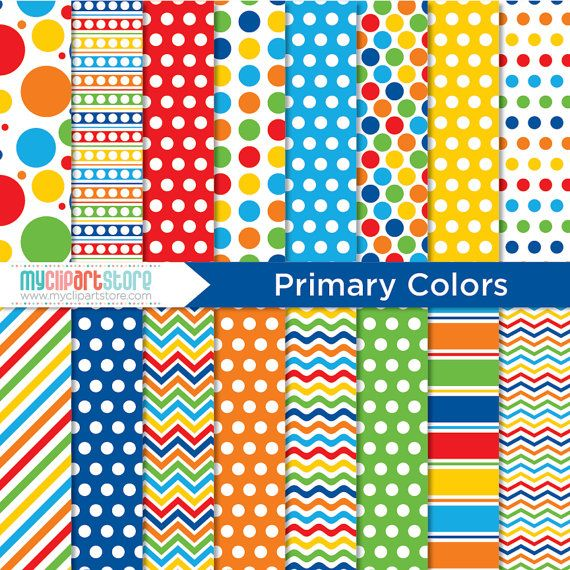 digital paper primary colors instant by myclipartstore