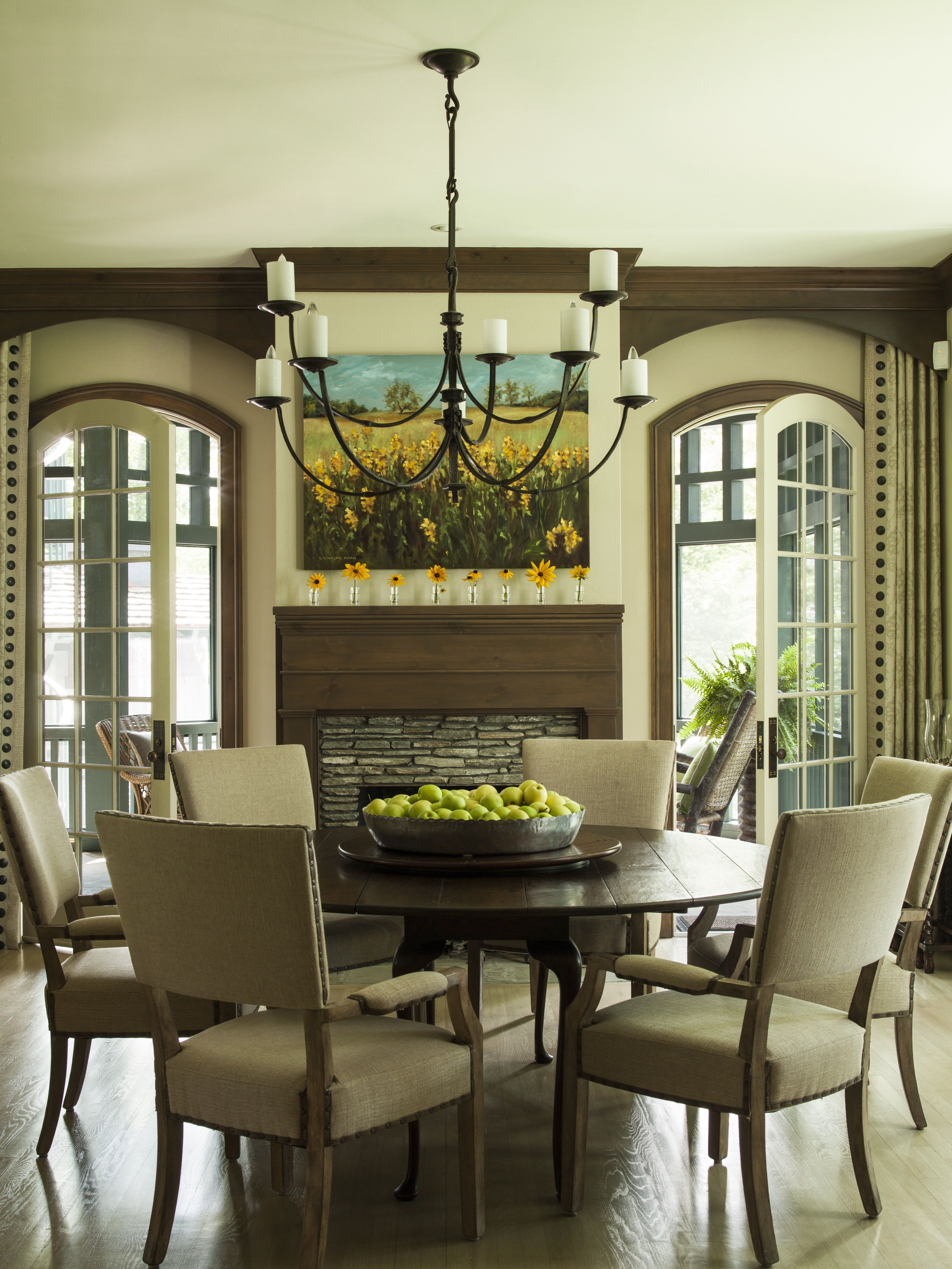 Nature inspired neutrals dominate the casual dining room ...
