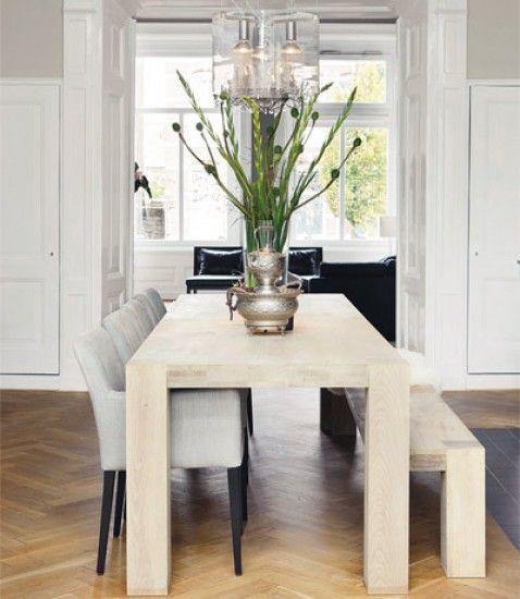 eetkamer wit/lichtgrijs verf combi + vloer   Doors   Pinterest