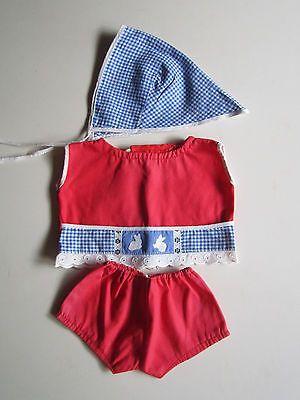 Schoene-alte-Puppenkleidung-Drolliger-3-tlg-Spielanzug