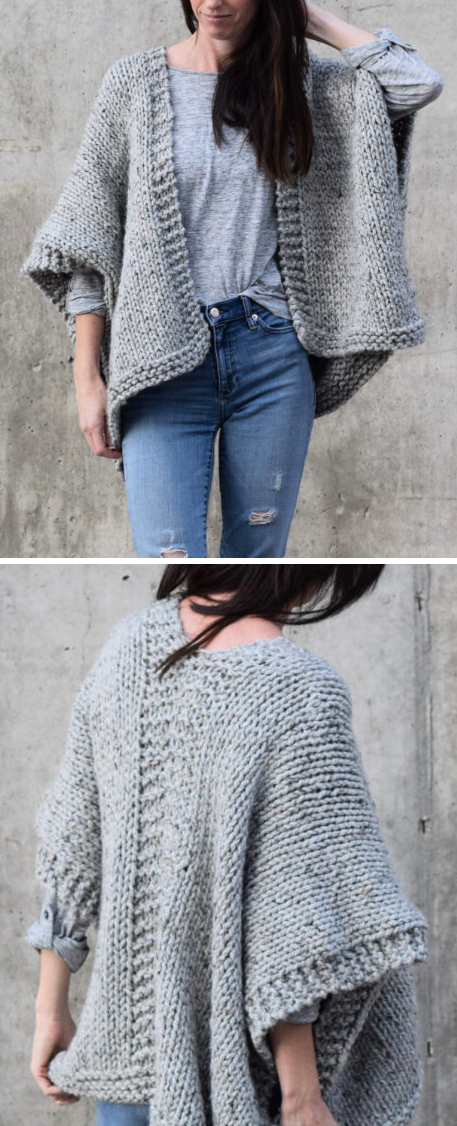 Free Knitting Pattern for Easy Telluride Kimono - This cardigan is ...