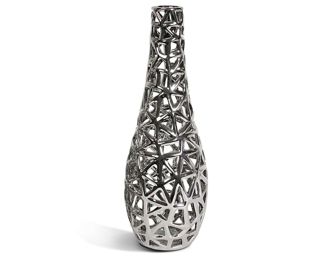 Chrome Decorative Bowl A Stylish And Contemporary Chrome Lattice Vase Available