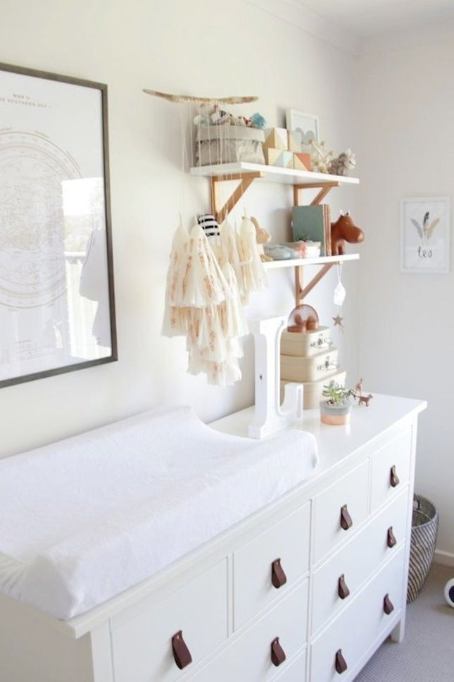 baby boy nursery, white changing table, white shelves, wooden frame ...
