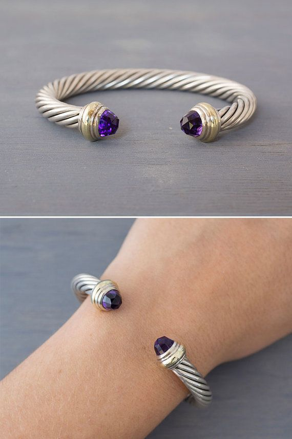 92050dddd76 Vintage David Yurman two-tone sterling silver and 14k yellow gold classic cable  cuff bracelet with purple amethyst, offered by MintAndMade.