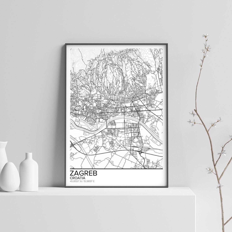 Zagreb Map Poster Print Wall Art Croatia Gift Printable Etsy Poster Prints Wall Prints Wall Art Prints