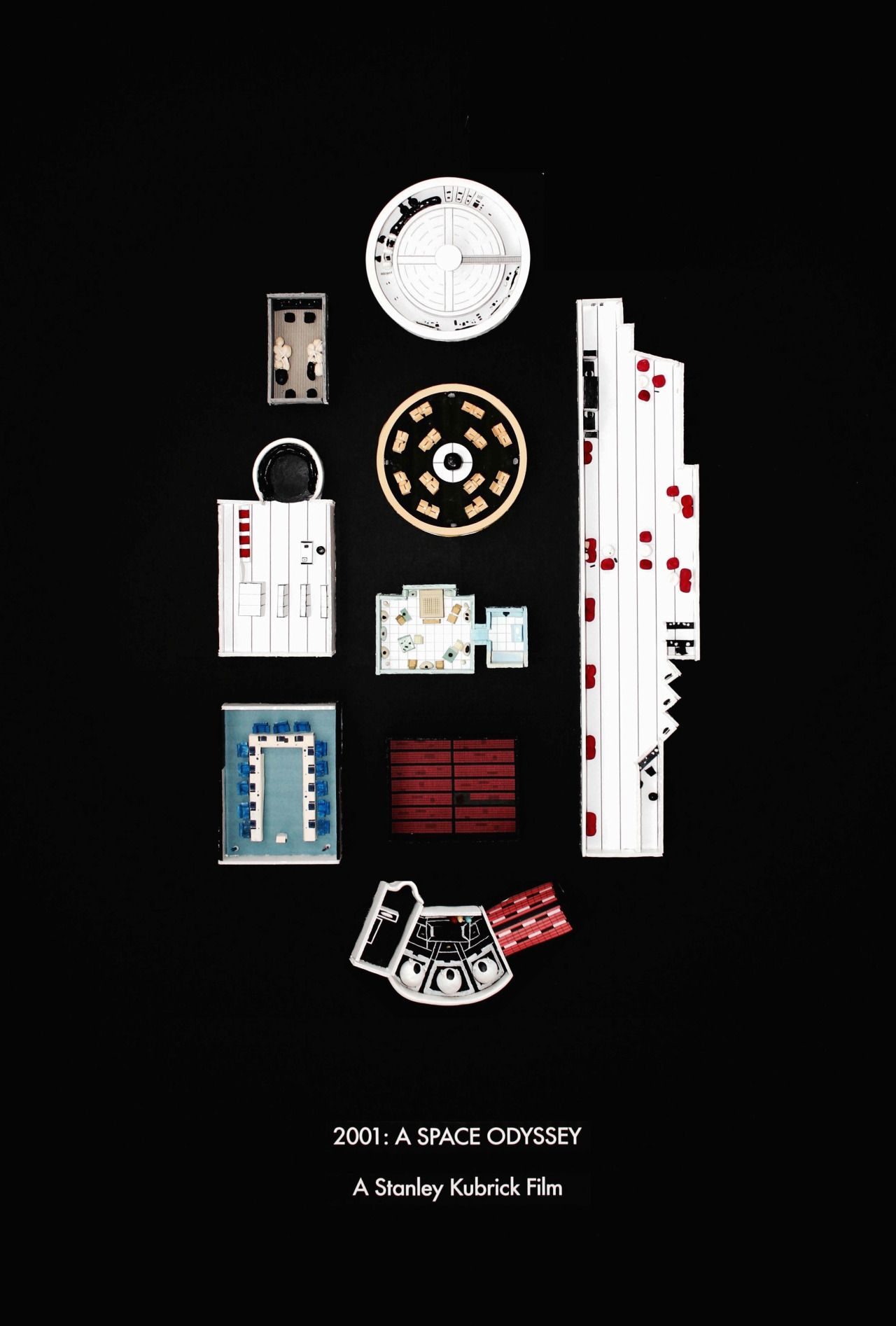 2001: A Space Odyssey by Jordan Bolton Made by recreating the film's set design in miniature