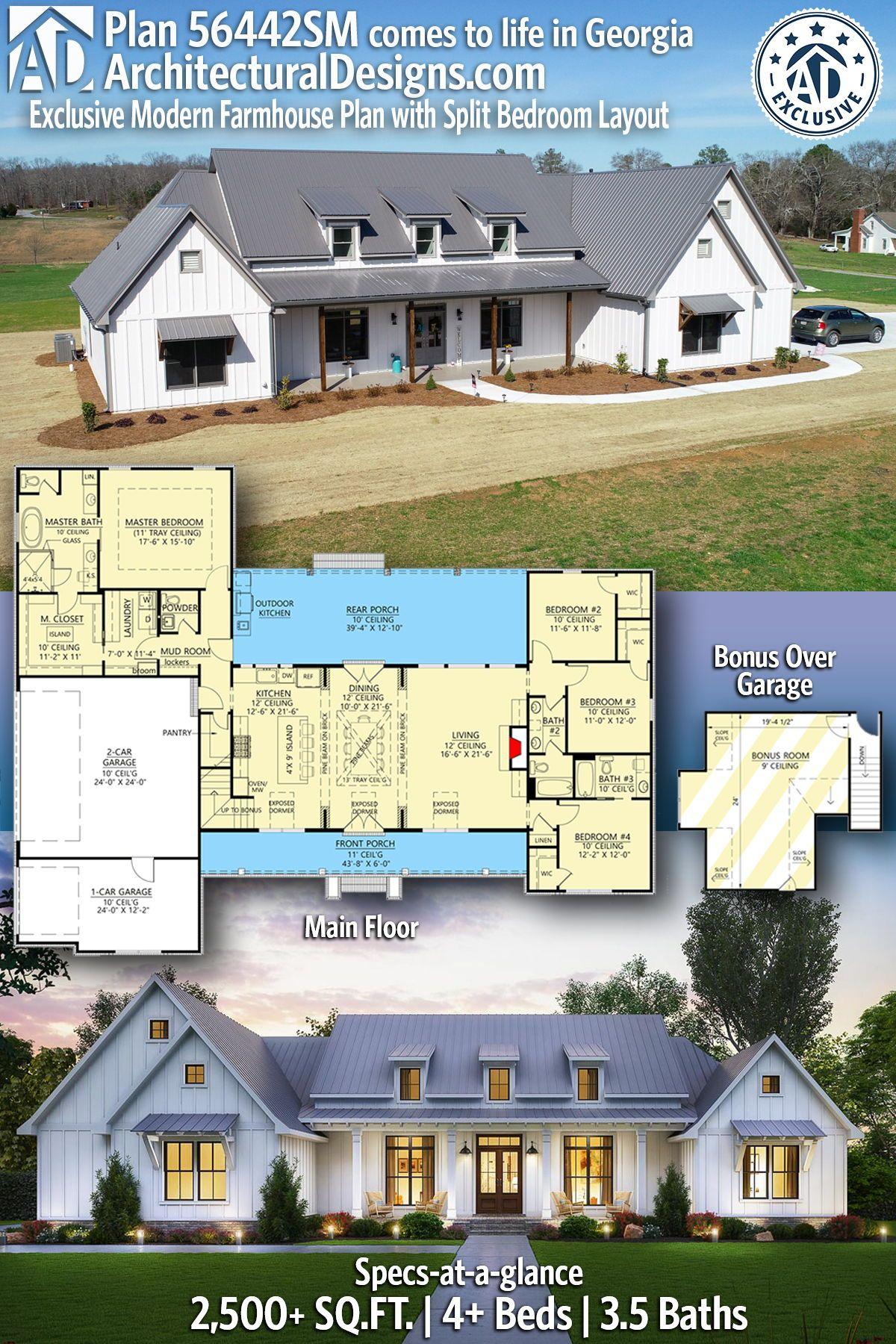 Plan 56442sm Exclusive Modern Farmhouse Plan With Split Bedroom Layout Modern Farmhouse Plans Farmhouse Plans House Plans Farmhouse