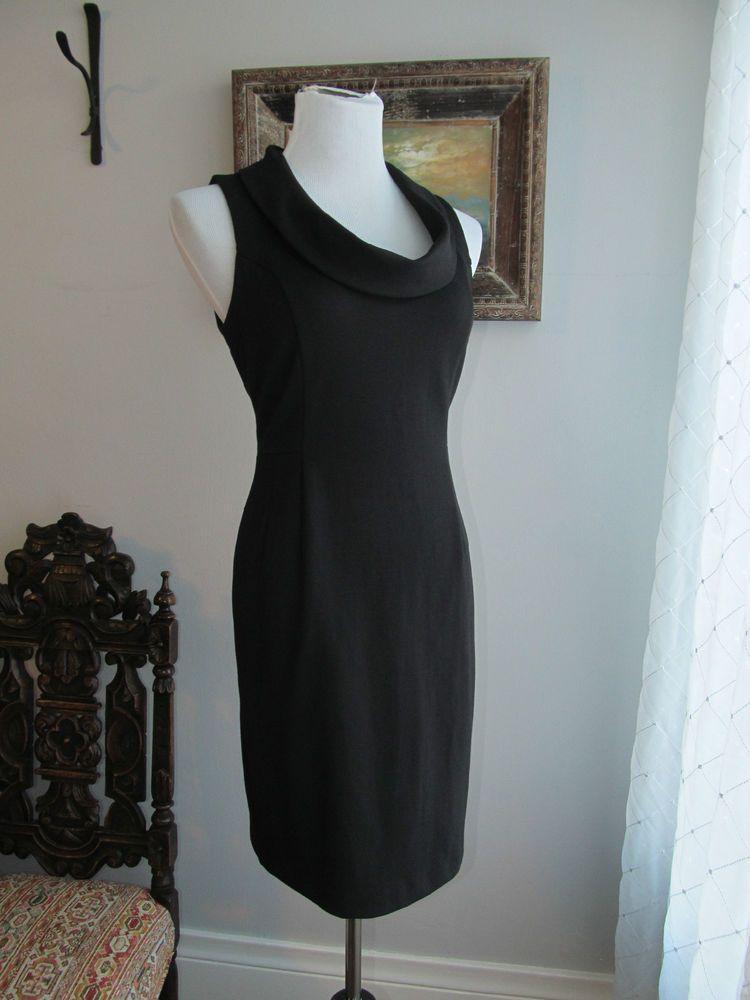 BANANA REPUBLIC Solid Black Polyester Blend Sleeveless Sheath Dress Size 6 #BananaRepublic #Sheath #WeartoWork