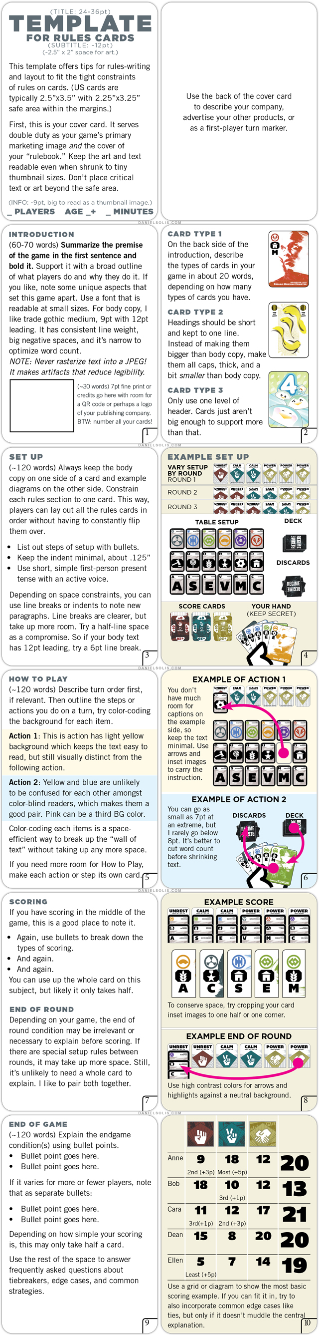 Daniel Solis How To Write And Lay Out Rules On Cards Template Cards Templates Writing