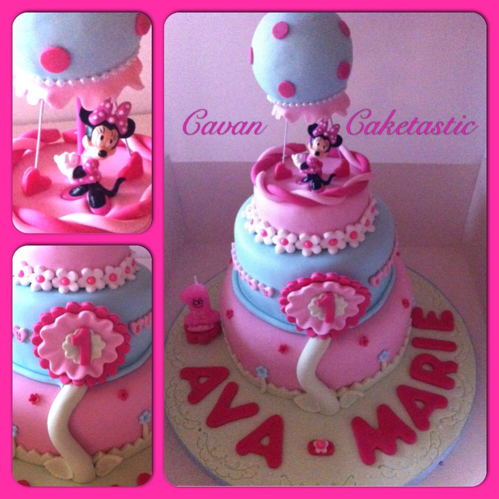 minnie mouse birthday cake the pink pearls are sixlets from party 3 tiered minnie mouse hot air balloon cake