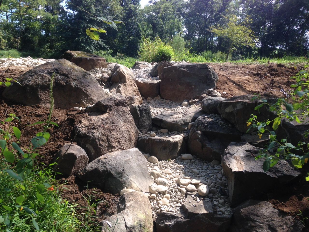 Farm pond spillway complete water features for Water pond design