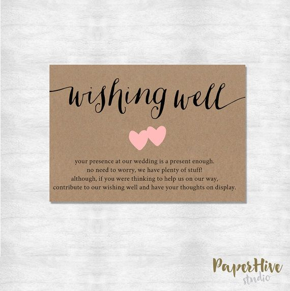 Wording For Money In Lieu Of Wedding Gifts: Wishing Well Card / Rustic Wishing Well Card / Printable