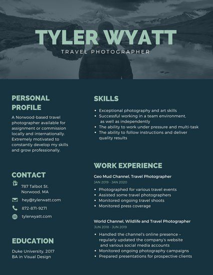 Dark Blue Travel Photographer Creative Resume Graphic Design - resume for photographer