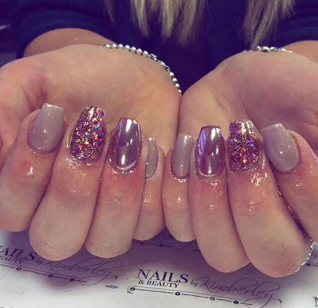 Pink Rose Chrome Glitter Acrylic Nail Designs Nails Metallic