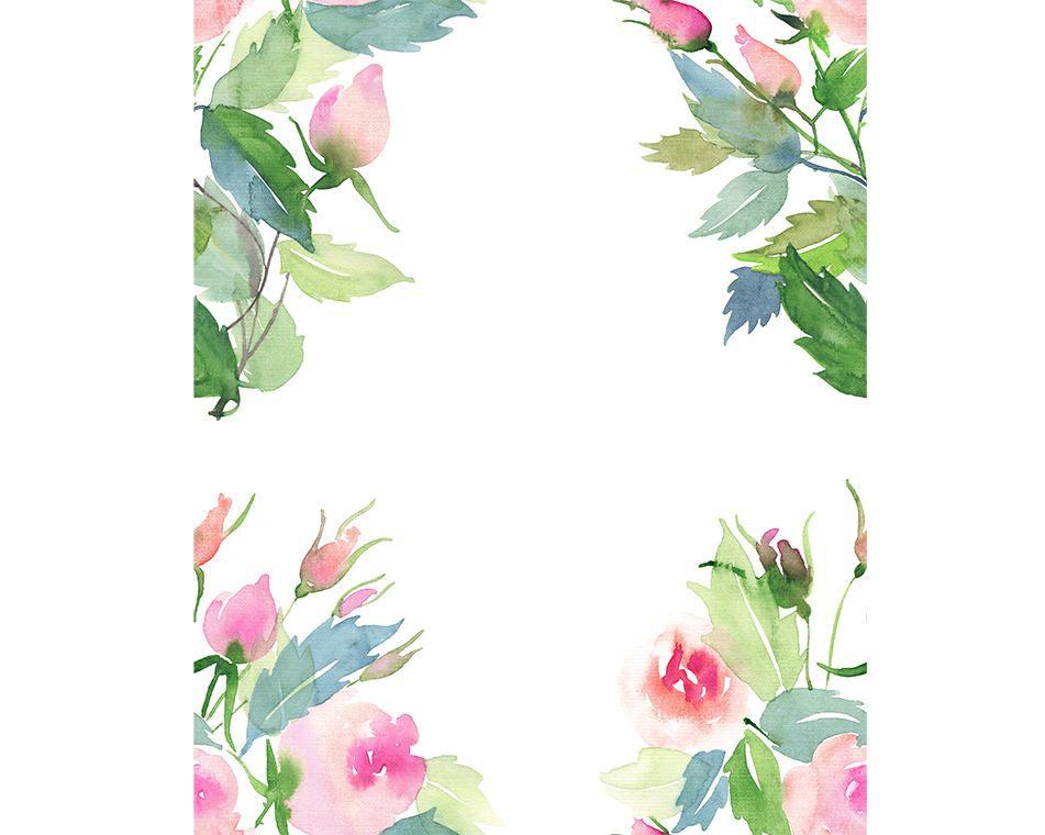 Watercolour flower frame border clip art graphic design - High resolution watercolor flowers ...
