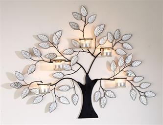 Metal Tree Candle Holder Tea Light Decoration Art Tree Branch Leaf Design 36 99 Hojas De Arbol Arboles Espejos