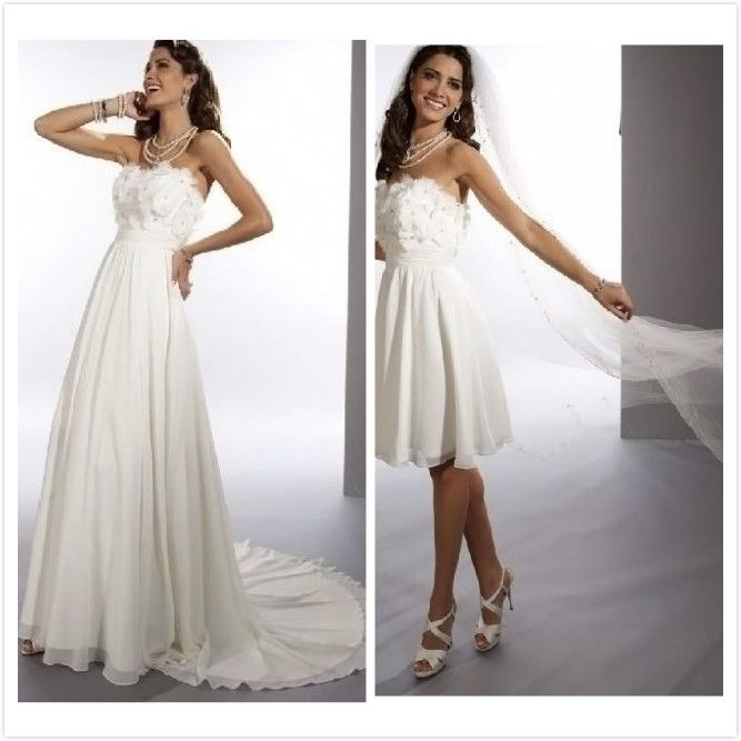 chiffon strapless sheath 2 in 1 wedding dress with convertible skirt