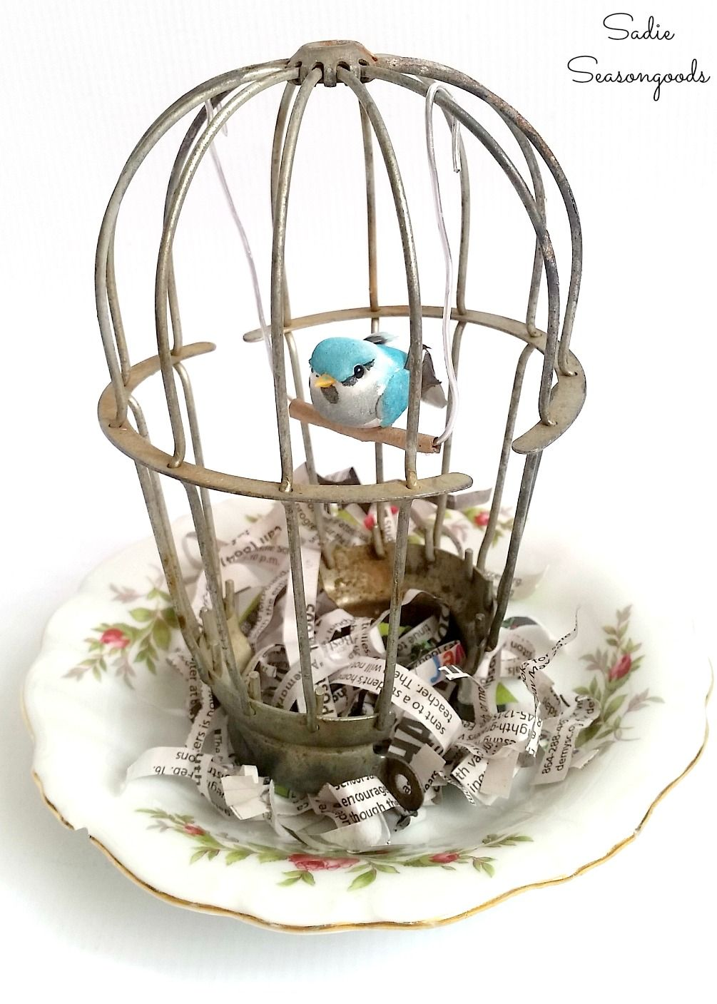 Birdcage Decor By Upcycling A Light Cage Industrial Light For Spring Bird Cage Decor Bird Cage Spring Decor Diy