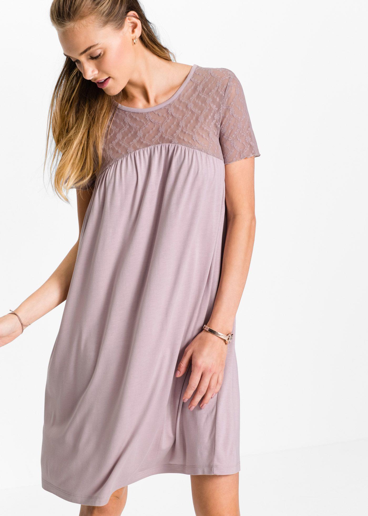 Shirtkleid mit Spitze aus fließendem Material   Kleider ...
