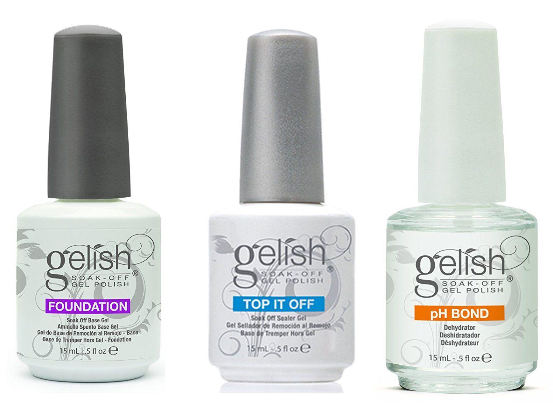 Gelish Gel LED Foundation Base Coat Top It Off Coat pH Bond 15 mL Polish Set