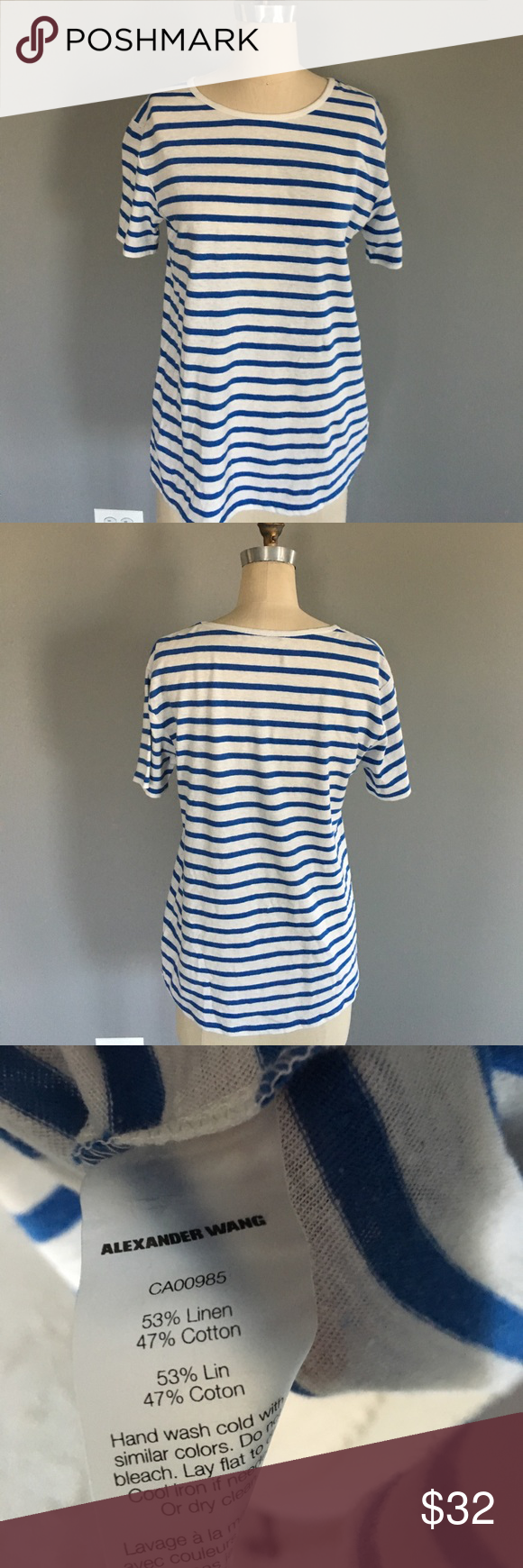 T by Alexander Wang Linen Blend Boyfriend TShirt Blue Striped Oversize Boyfriend Tee in a Linen/Cotton Blend. No Signs of Wear T by Alexander Wang Tops