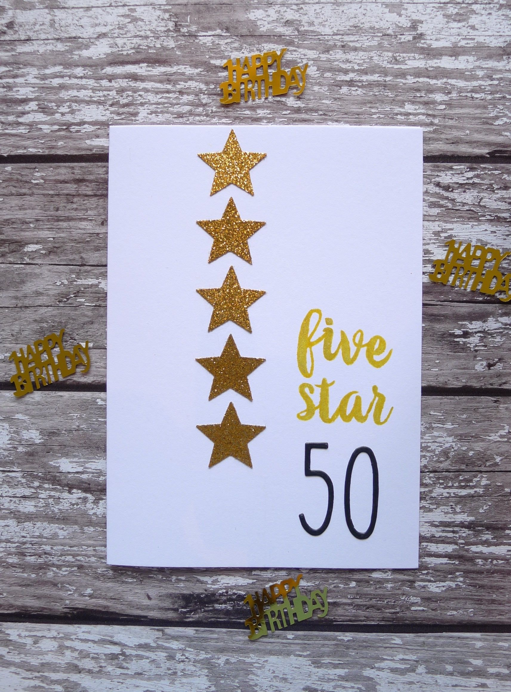 50th birthday card age birthday card five star 50 white and gold 50th birthday card age birthday card five star 50 white and gold sparkling birthday card for those turning 50 age milestone birthday card kristyandbryce Image collections