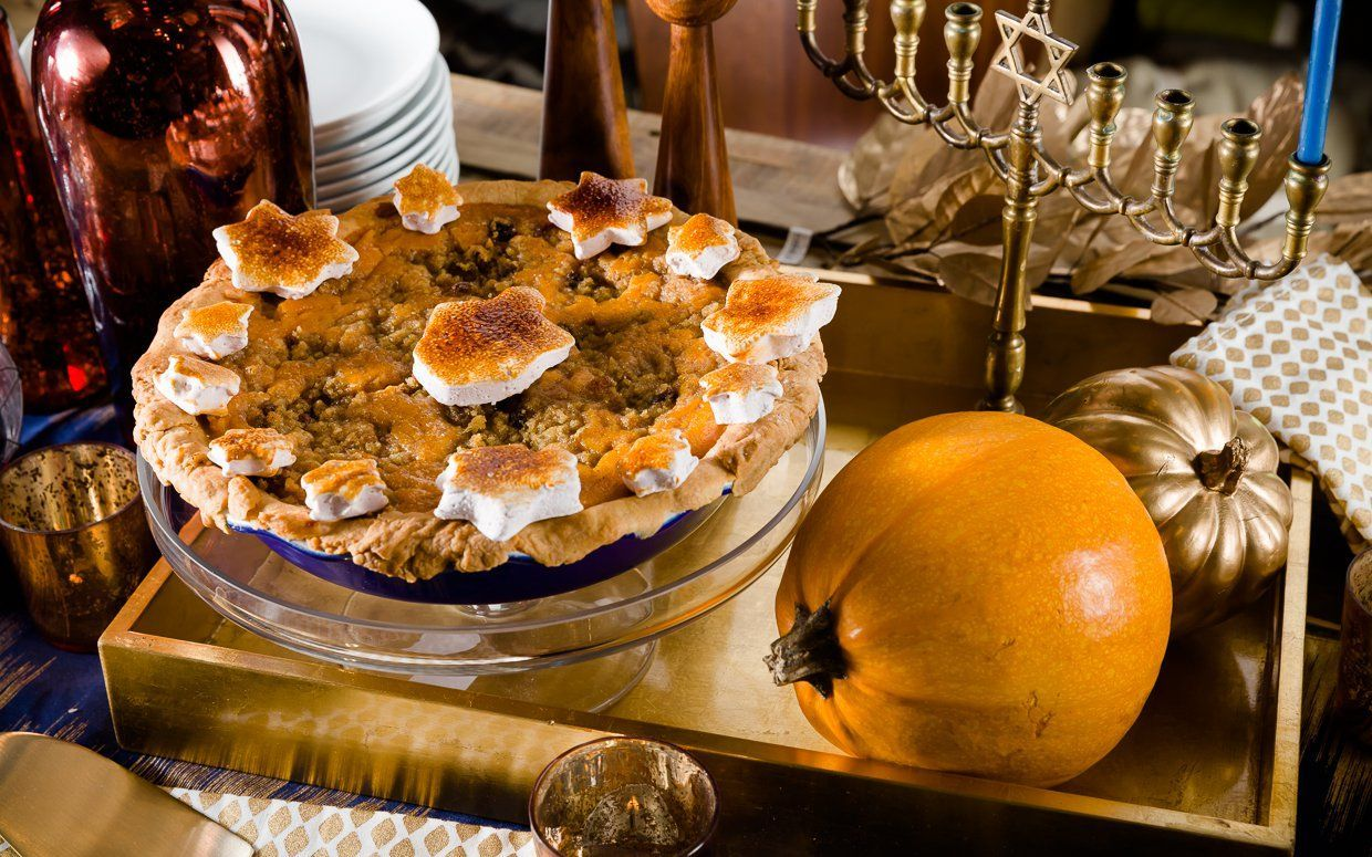 Thanksgivukkah Tzimmes Pie #flavoredmarshmallows What's the story behind this pie? Read all about it here, then check out the recipe below. Optionally, top withHomemade Manischewitz-flavored Marshmallowsand use a culinary torch to brown. #flavoredmarshmallows