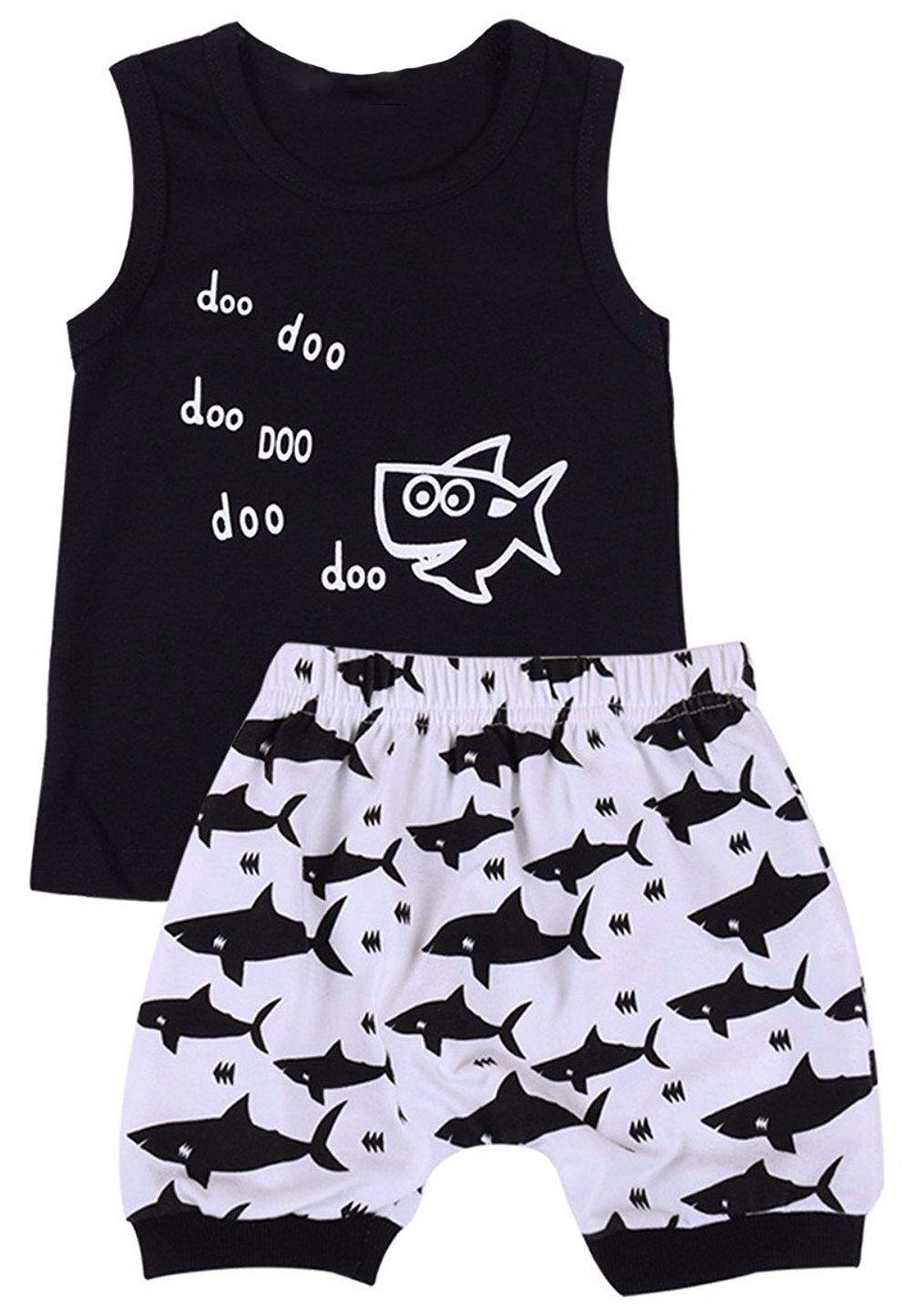 Toddler Kid Baby Shark Boys Outfits Cotton Tops T-Shirt Shorts Pants Clothes Set