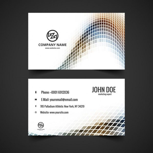Business card with wave in mosaical style Free Vector