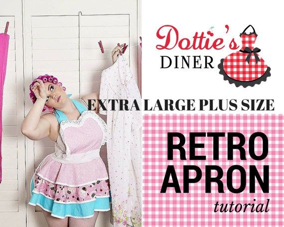 Apron Tutorial and Pattern PDF Size Extra LARGE by dottiesdiner | sewing
