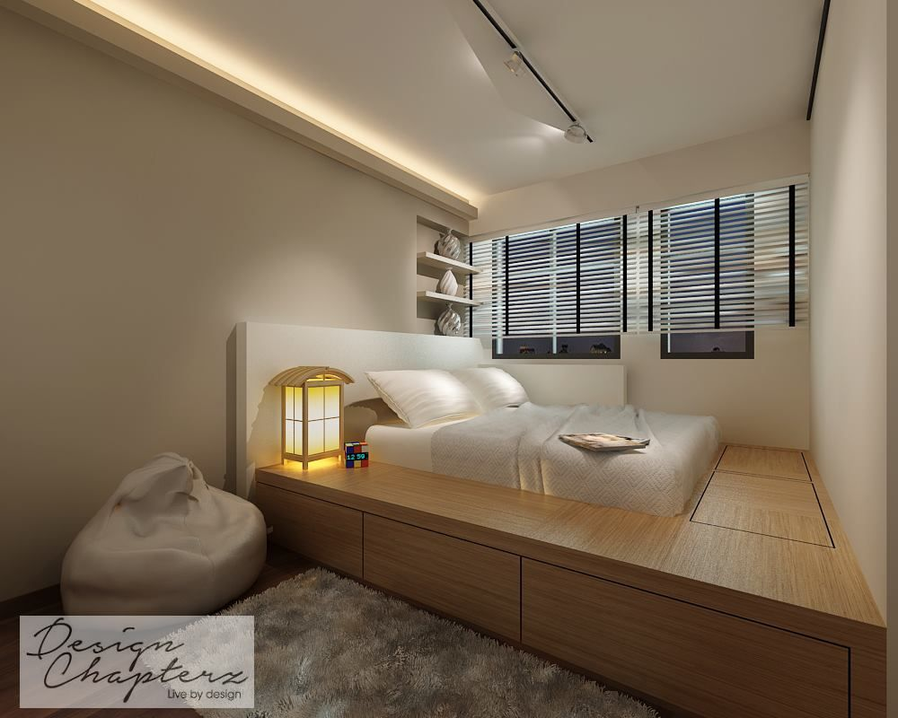 The master bedroom with a platform bed design which not ...