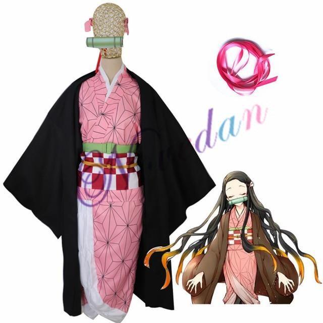 Photo of Anime Demon Slayer Costume Women Kimono Uniforms Clothes – Kamado Nezuko / M / Kimetsu no Yaiba