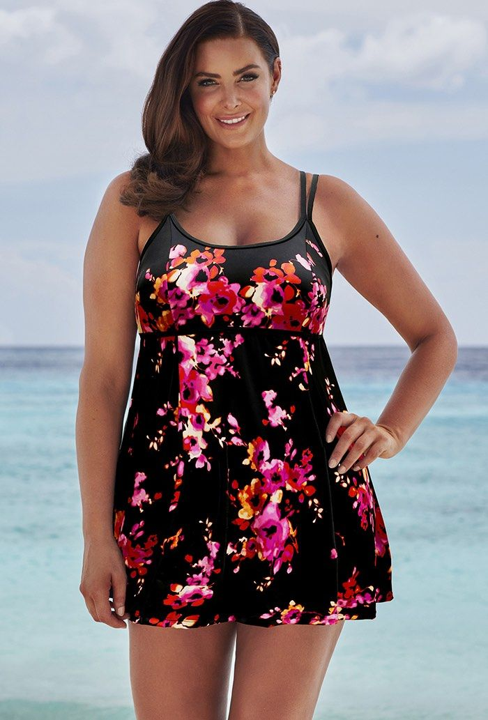 a88273300d2b4 Beach Belle Poppies Lingerie Swimdress Plus Size Swimwear