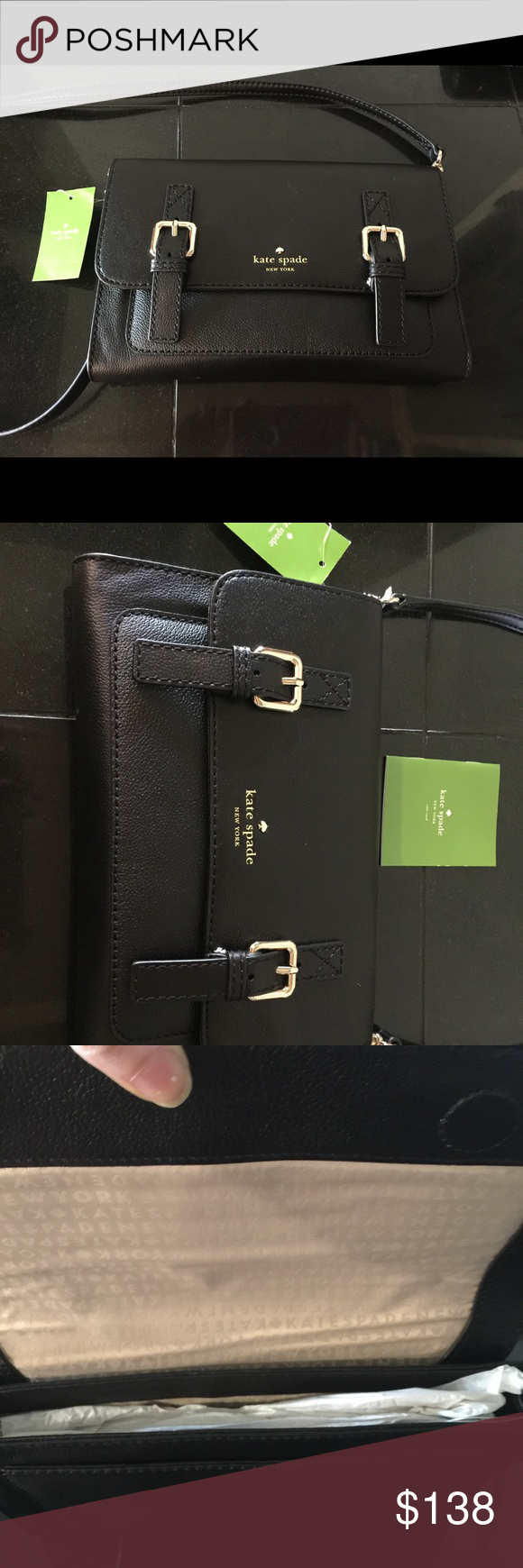 Kate Spade Allen St. Neil - Black Crossbody bag crafted in matte goat leather. gold printed kate spade new york signature. Magnetic flap closure. custom woven poly twill lining. inside zipper pocket 7''h x 10''w x 1''d drop length: 20'' removable strap kate spade Bags Crossbody Bags