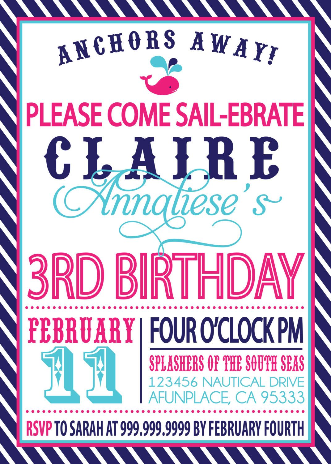Wow I Never Get Sick Of Seeing My Name Spelled Correctly In Print Sailor Girl Nautical Birthday Invitation 1800 Via Etsy