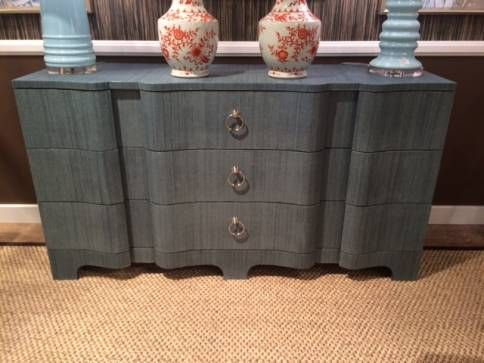 Brigid Extra Large Lacquered Grcloth Dresser With Silver Ring Pulls Available In Natural White Cerulean