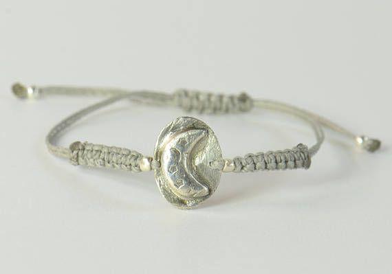 Moon charm bracelet-Sterling silver.Artisan beadhandmade