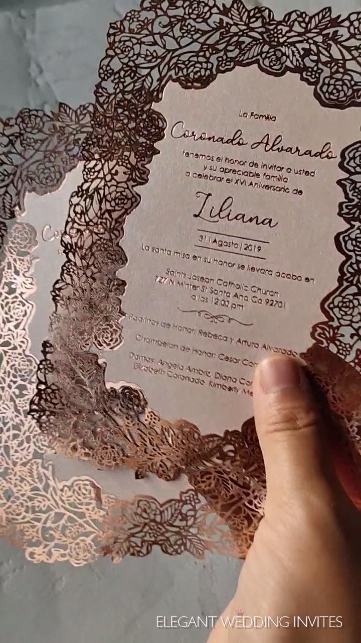 hot stamp rose gold foiling elegant flower laser cut wedding invitations EFWS032