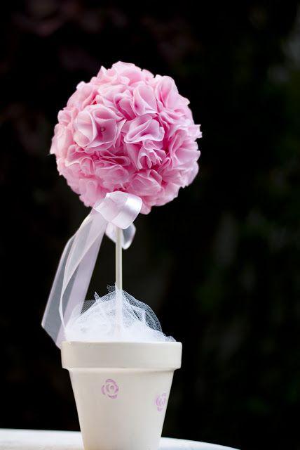 Topiario maceta pintada a mano flores de tela hechas a mano decoraci n bautismo y fiesta ni a - Flores de telas hechas a mano ...