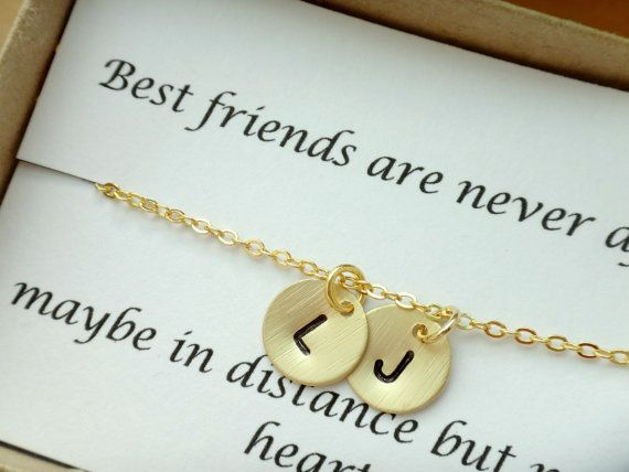 2 Initial Best Friend Necklace Personalized Gifts For Friends Simple Sister Christmas