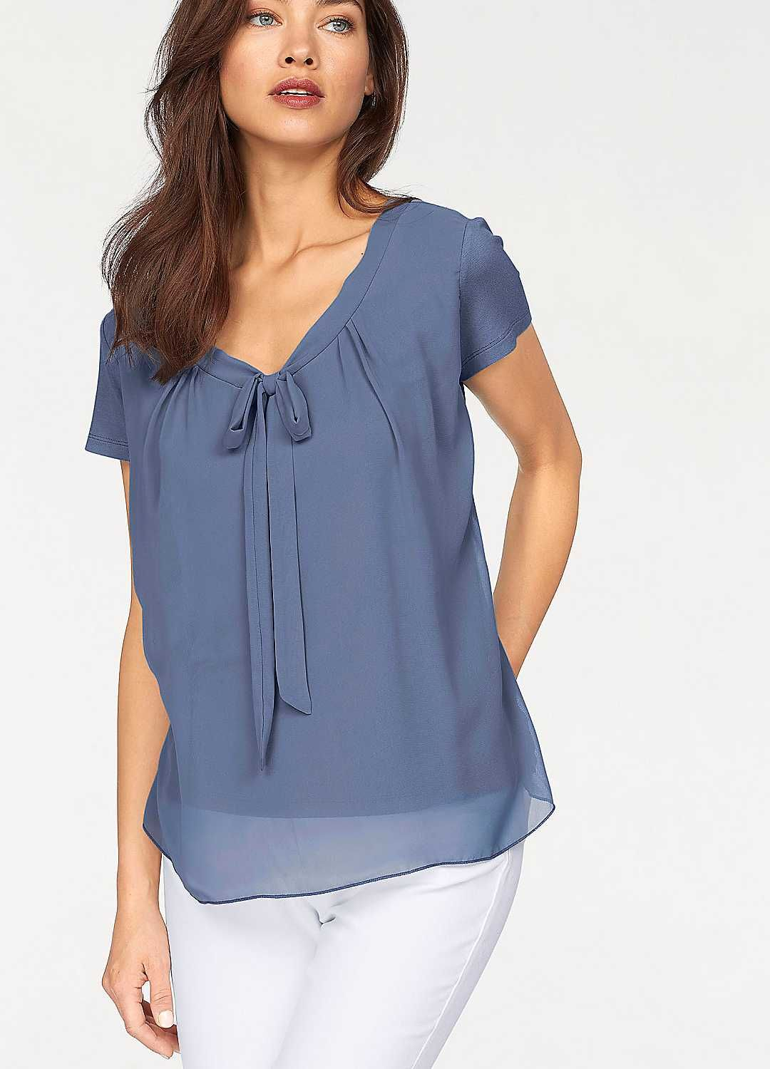 5bf248986cd3 Pussy Bow Blouse Top with Chiffon Front by Vivance