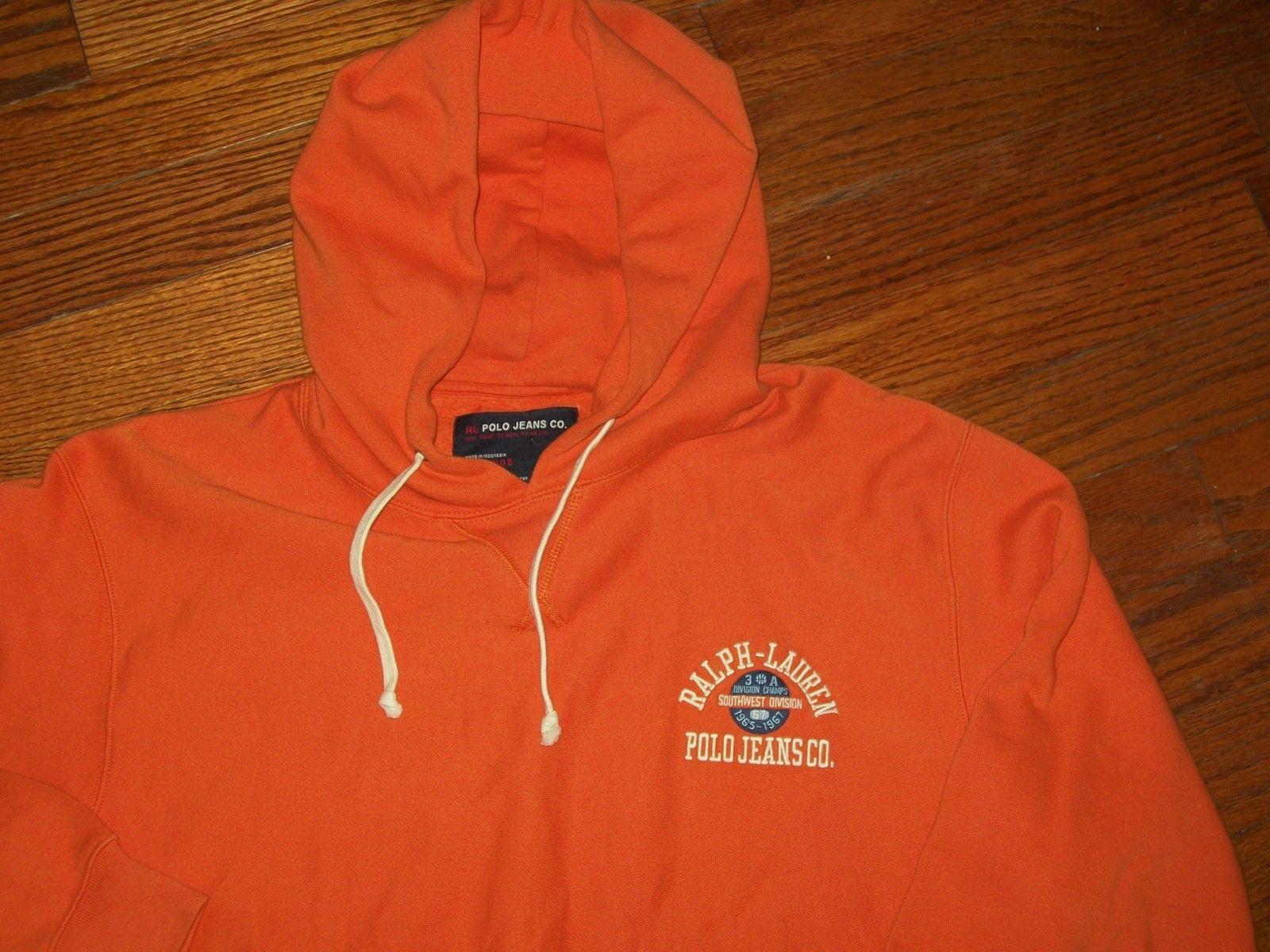 Jeans Co Hoodie Orange Ralph Lauren Sweatshirt Xl Mens 1965 Polo 3TlcF5u1JK
