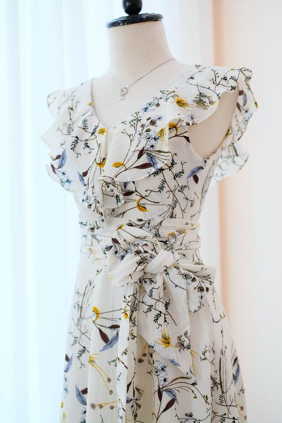Weißes Kleid Blumen weiß lange Brautjungfer Hochzeit Kleid ...