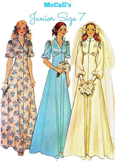 70s BRIDE, BRIDESMAID DRESS Sewing Pattern - McCalls 4207 - Easy ...