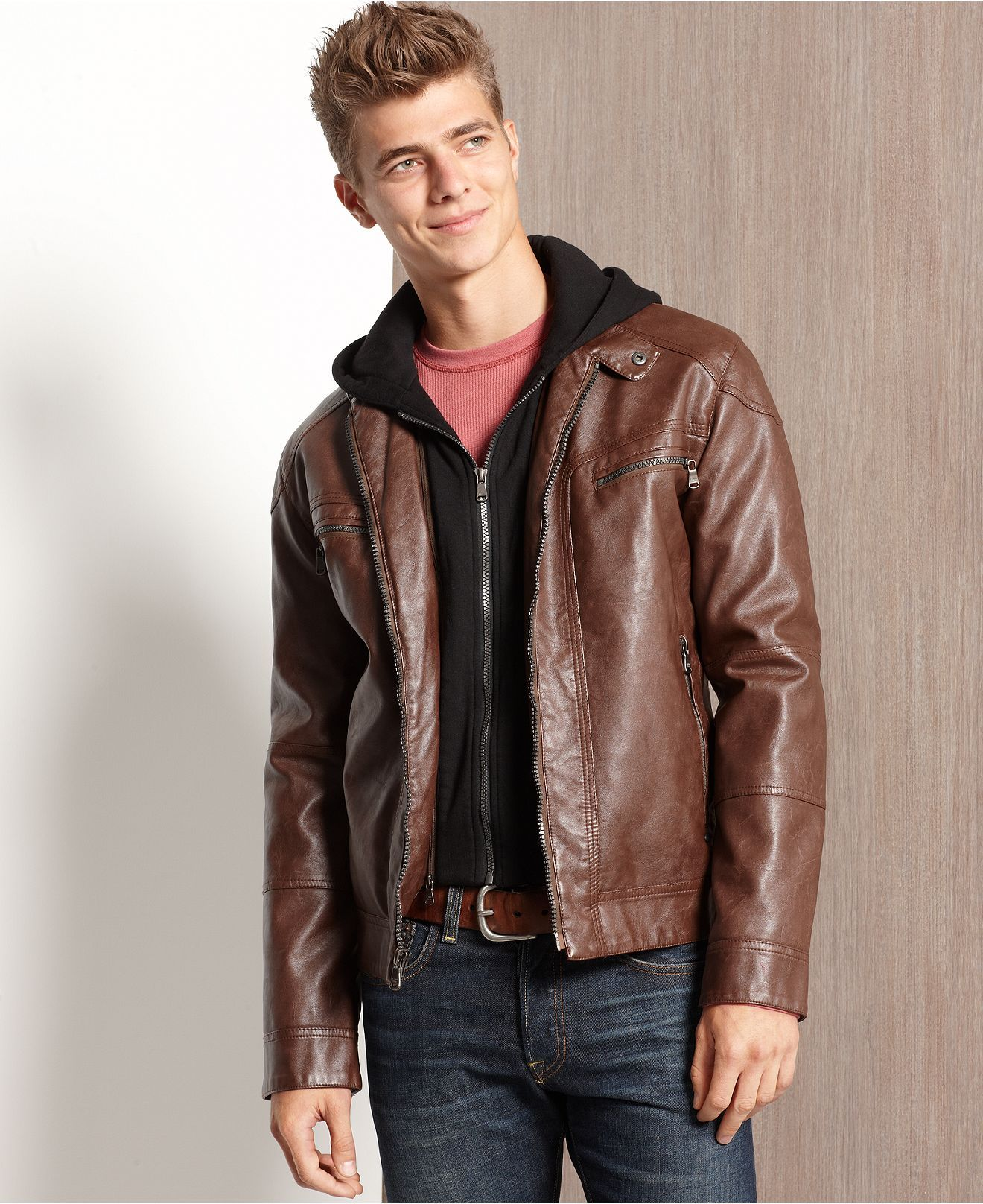 fbbab7c58 Calvin Klein Jacket, Faux-Leather Hooded Jacket - Mens Coats ...