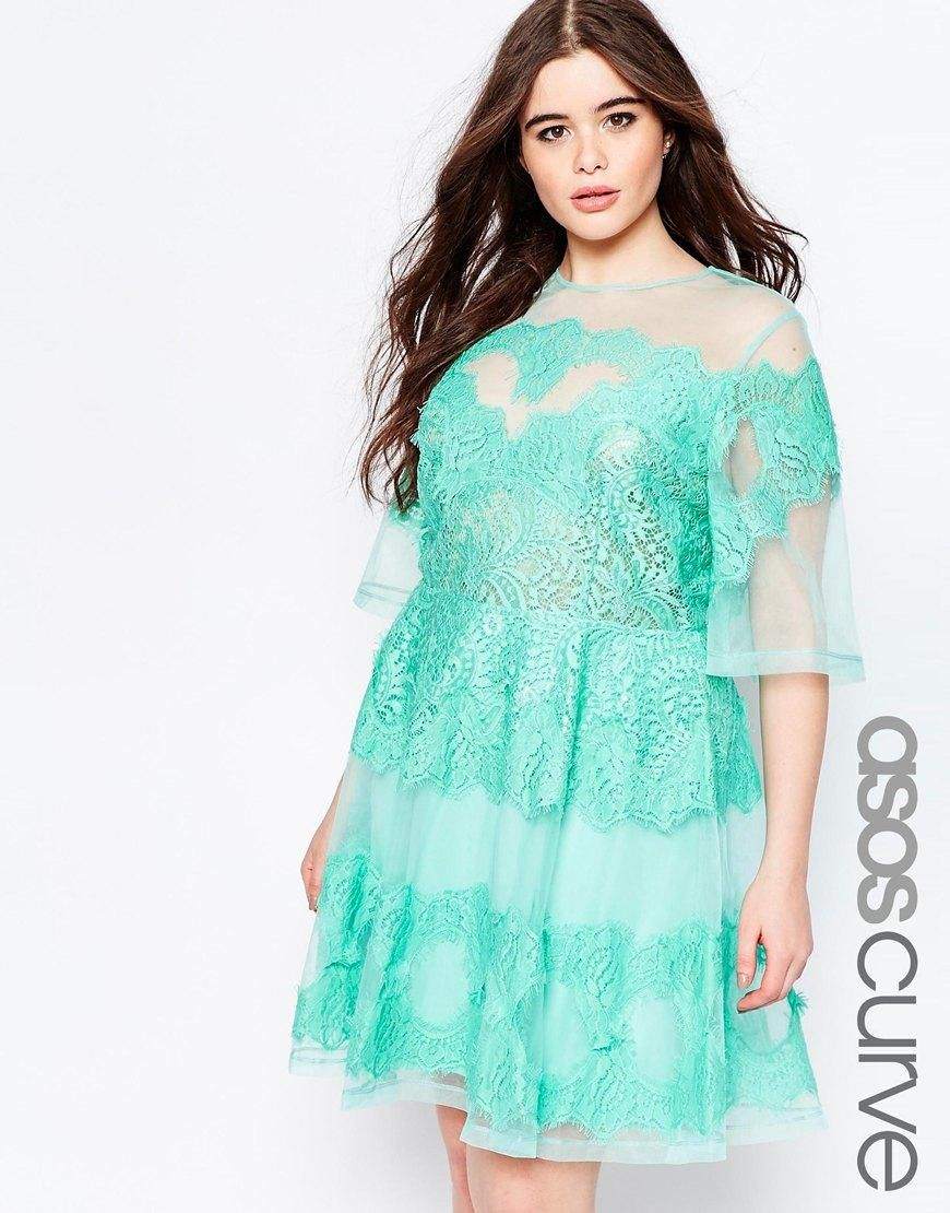 Green dress with lace overlay  vestido  Curvys modelos   Pinterest  Asos online shopping Asos