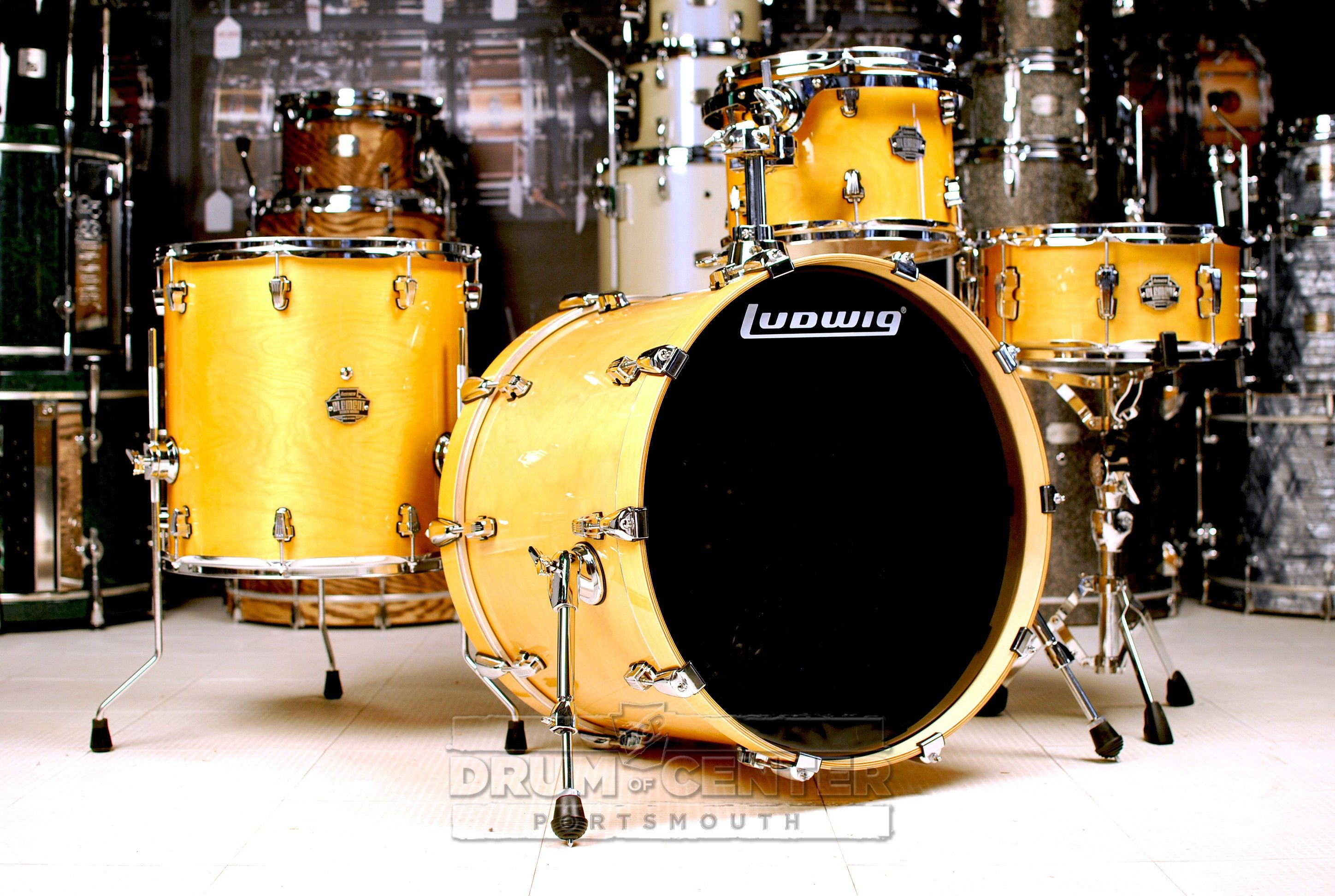 Ludwig Element Birch Icon 4pc Drum Set Rooftop Natural | Drum Kits ...
